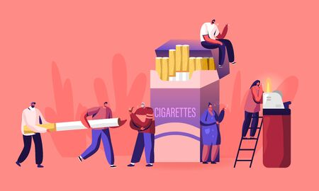 Smokers and Smoking Addiction Concept. Young and Old People Smoke near Huge Cigarettes Box, Senior with Pipe in Public Place. Male and Female Characters Have Bad Habit Cartoon Flat Vector Illustration Illusztráció