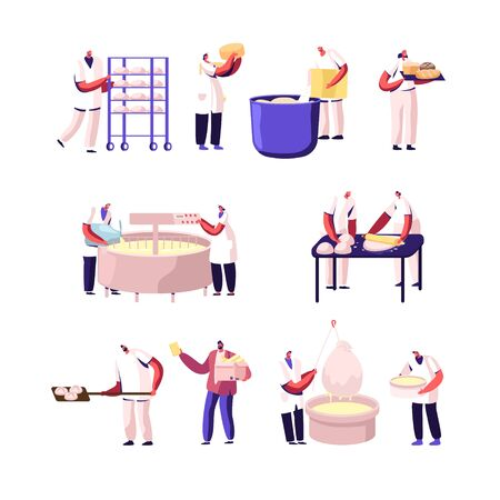 Bakery and Cheese Factory, Food Production Set. Bakers Characters Kneading Dough, Cheesemaker Decant Dairy Mass in Professional Equipment Working on Modern Manufacture Cartoon Flat Vector Illustration Vectores