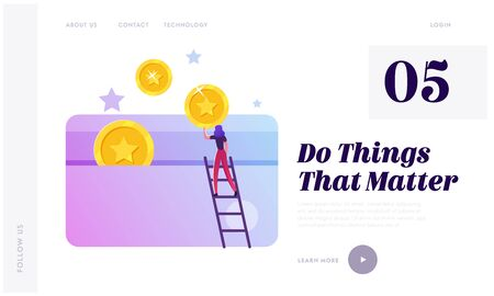 Loyalty Program Service, Rewards Points and Bonus System to Regular Clients Website Landing Page. Woman Stand on Ladder Put Gold Coins to Plastic Card Web Page Banner. Cartoon Flat Vector Illustration Illustration