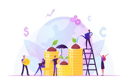 Corporate Social Responsibility. Ethical and Honest Persons Growing Plants on Coins. Strategy for Sustainable and Fair Rights Organization Management or Csr Teamwork. Cartoon Flat Vector Illustration