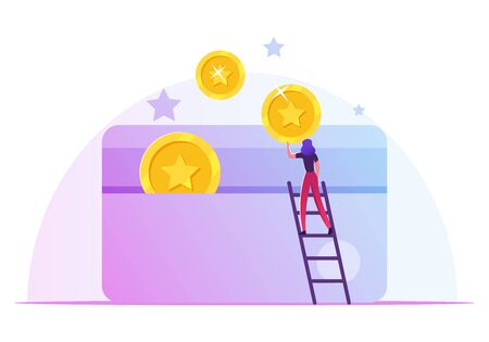 Woman Stand on Ladder Put Golden Coins to Plastic Card. Discount and Loyalty Program Customer Service, Rewards Points and Bonus System to Regular Clients Concept. Cartoon Flat Vector Illustration