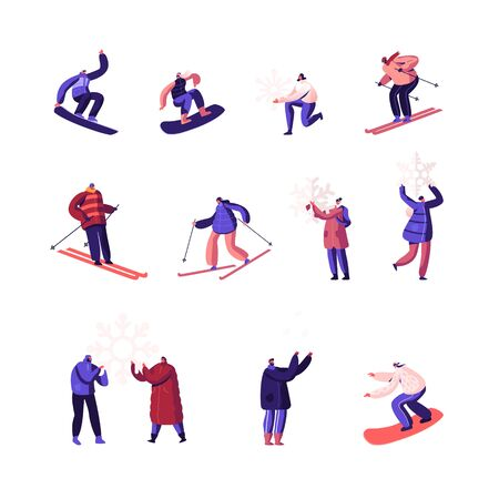 Winter Time Season Holidays Entertainment Activity Set. Happy People Riding Snowboard and Skis, Playing with Snow 矢量图像