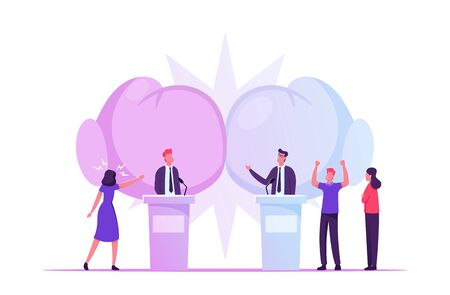 Political Debates, Pre-election Campaign Voting Process, Candidates Stand on Tribunes for Promotion and Advertising Interview, Active Political Discussion, Debating, Cartoon Flat Vector Illustration Ilustrace