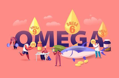 Omega Fat Concept. People Take Products and Vitamins with Polyunsaturated Fatty Acids Natural Organic Food with High Omega 3- 6- 9 Content Poster Banner Flyer Brochure Cartoon Flat Vector Illustration