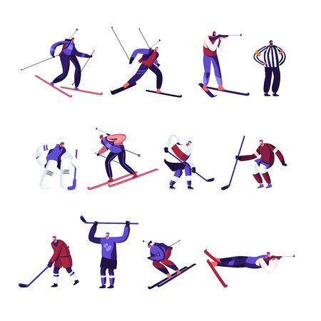 Winter Sport Activities Hockey, Freestyle, Biathlon Competition or Training Set Isolated on White Background. Sportsmen in Uniform Take Part in Championship Tournament Cartoon Flat Vector Illustration