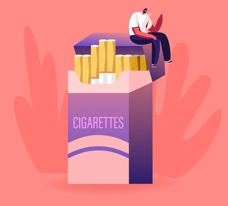 Unhealthy Habit, Smoking Nicotine Tobacco Addiction Concept. Tiny Male Character Sitting on Huge Cigarette Box and Smoking. Man Having Pleasure of Smoker Lifestyle. Cartoon Flat Vector Illustration