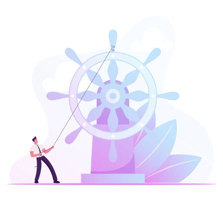 Corporate Governance, Leadership and Management Concept. Business Man Floating on Imaginary Boat to Aim Rolling Huge Steering Wheel Bounded with Rope. Ambitious Plan Cartoon Flat Vector Illustration