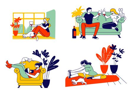 Young Woman and her Cat Set. Girl Spend Time at Home Alone and Dating with Boyfriend, Drinking Wine, Doing Fitness Workout Exercising, Reading Book with Pet. Cartoon Flat Vector Illustration, Line Art  イラスト・ベクター素材