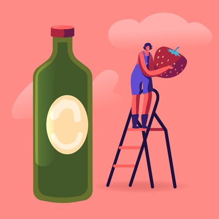 Local Food, Organic Production, Homemade Strawberry Jam, Juice or Syrup. Tiny Female Character Stand on Ladder near Huge Bottle Holding Fresh Ripe Berry in Hands. Cartoon Flat Vector Illustration