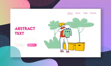 Charity Organization Website Landing Page. Woman Volunteer Collecting Clothes for Beggars Living on Street. Girl Holding Sweater from Box Web Page Banner. Cartoon Flat Vector Illustration, Line Art