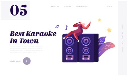 Entertainment Leisure and Recreation Hobby Website Landing Page. Woman Sitting on Huge Dynamics on Stage with Microphone Singing Song at Karaoke Bar Web Page Banner. Cartoon Flat Vector Illustration Illustration