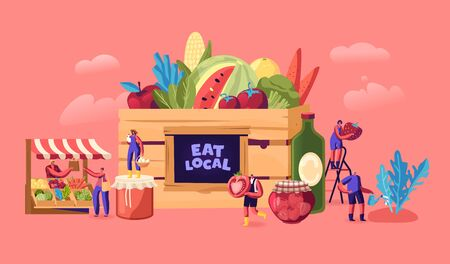 Eat Local Concept. Tiny Male and Female Characters Buy Fresh Healthy Tasty and Organic Seasonal Food without Exporting. Traditional Environment Homestead Groceries Products Cartoon Vector Illustration Foto de archivo - 138136953