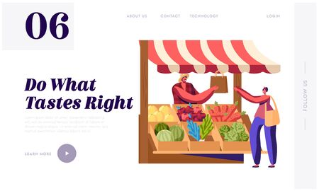 Purchaser Buying Ecological Healthy Organic Local Food Website Landing Page. Farmer Sell Fresh Fruit and Vegetable Products at Counter Desk Farm Market Web Page Banner Cartoon Flat Vector Illustration Foto de archivo - 138136955