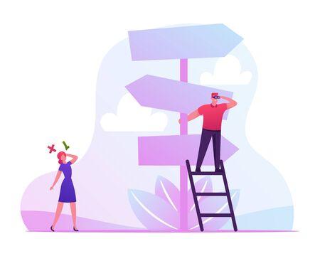 Business Challenge und Task Solution Choice Way Konzept mit Geschäftsmann und Geschäftsfrau stehen auf Crossroad Fork Pointer Entscheidungsfindung, welche Straßenrichtung wählen. Flache Vektorillustration der Karikatur Vektorgrafik