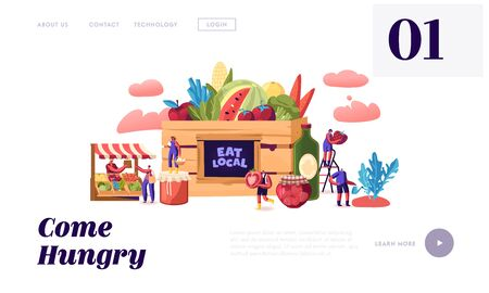 Eat Local Website Landing Page. Tiny Male and Female Characters Buy Fresh Healthy Tasty and Organic Seasonal Food Groceries Products without Exporting Web Page Banner. Cartoon Flat Vector Illustration Foto de archivo - 138137232