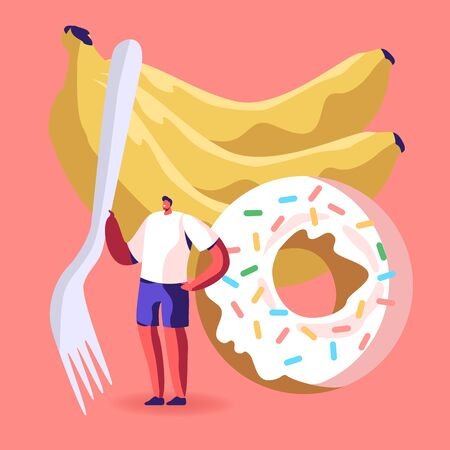 Bad and Good Sources of Carbohydrate in Products Concept. Tiny Male Character Holding Fork Stand at Huge Banana Bunch and Fresh Baked Donut with Colorful Sprinkles. Cartoon Flat Vector Illustration