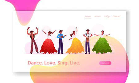 Rio Carnival Musicians and Girls Dancers Band Website Landing Page. Young Men Playing Drum, Maracas and Ukulele at Traditional Festival in Brazil Web Page Banner. Cartoon Flat Vector Illustration