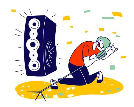 Man Cheering, Dancing and Jumping on Stage Performing Rock Composition in Karaoke Bar. Artist Singing at Music Event or Concert, Corporate Party Leisure. Cartoon Flat Vector Illustration, Line Art Çizim