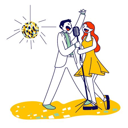 Cheerful Couple Singing Song with Microphones in Karaoke Bar or Nightclub with Stroboscope. Weekend Sparetime, Creative Hobby, Corporate Party Celebration. Cartoon Flat Vector Illustration, Line Art Ilustração