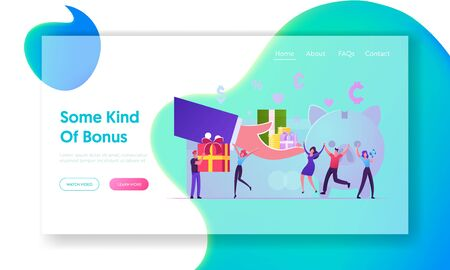 Bonus Card, Loyalty Program, Earn Reward, Redeem Gift, Perks Website Landing Page. Huge Hand Giving Gift Box to Characters near Piggy Bank with Money Web Page Banner. Cartoon Flat Vector Illustration