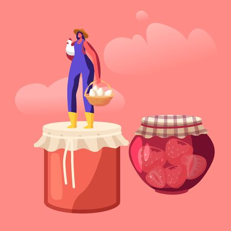 Happy Woman Farmer Presenting Local Food and Eco Production for Sale, Preserving Homemade Jam in Glass Jar and Eggs. Girl Standing on Lid of Canning Jam-jar Products. Cartoon Flat Vector Illustration