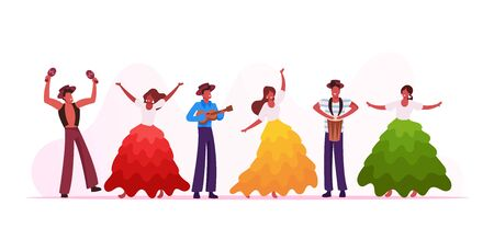 Rio Carnival Musicians Band and Girls Dancers Isolated on White Background. Young Men Playing Drums and Ukulele at Traditional Festival in Brazil. Artists Performance Cartoon Flat Vector Illustration