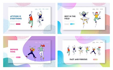 Youth, Childhood and Freedom Website Landing Page Set. Happy Kids Jumping with Hands Up. Young People Movement, Summer Vacation, Party Web Page Banner. Cartoon Flat Vector Illustration, Line Art