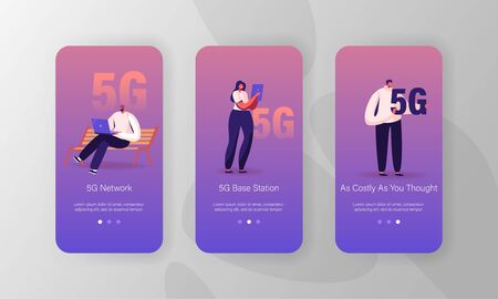 High-speed 5G Internet Mobile App Page Onboard Screen Set. Young People Communicating Online Using Gadgets. Social Media Networking Concept for Website or Web Page, Cartoon Flat Vector Illustration