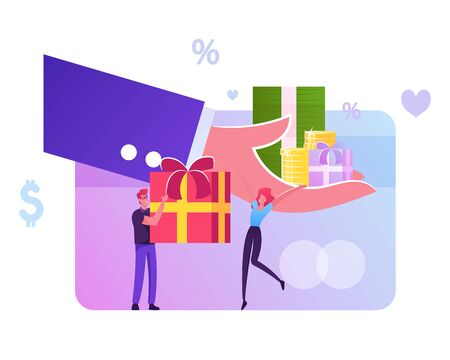 Huge Human Hand Give Gift Box to Male and Female Customer Characters. Festive Sale and Shopping Promotion Offer, Bonus System, People Using Coupon for Buying Presents. Cartoon Flat Vector Illustration