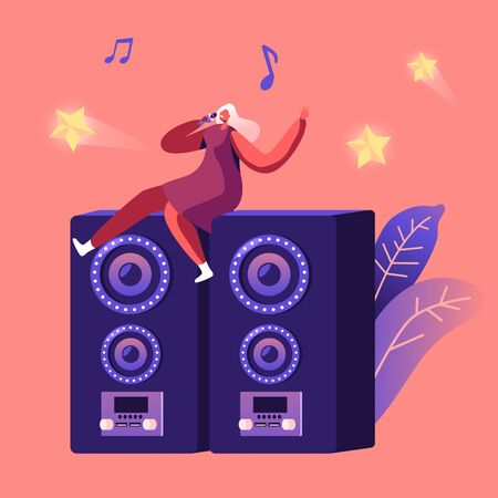 Entertainment Leisure and Recreation Hobby Concept. Cheerful Woman Sitting on Huge Dynamics on Stage Holding Microphone and Singing Song at Karaoke Bar or Night Club. Cartoon Flat Vector Illustration