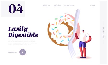 Bad and Good Sources of Carbohydrate in Products Website Landing Page. Tiny Male Character Holding Fork Stand at Huge Fresh Baked Donut with Sprinkle Web Page Banner. Cartoon Flat Vector Illustration