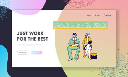 Recruitment, Job Interview Website Landing Page. Unemployed People Searching Job. Man and Woman Applicants with Cv Documents Sit in Office Web Page Banner. Cartoon Flat Vector Illustration, Line Art