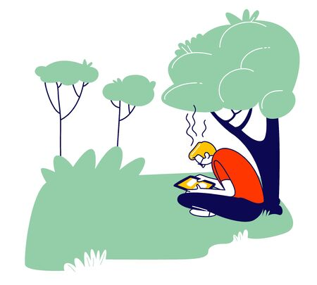 Young Man Student Sitting with Tablet Learning Homework or Prepare to Exams in University or College Yard Background. Education, Gaining Knowledge Concept Cartoon Flat Vector Illustration, Line Art Illustration