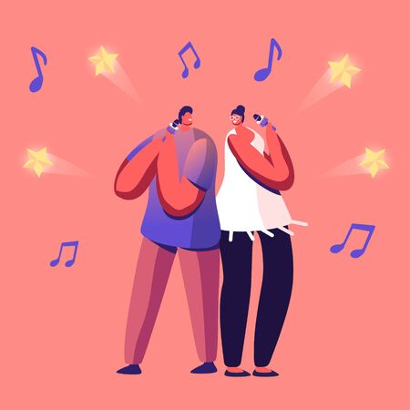 Cheerful Couple Singing Song in Karaoke Bar Standing with Microphones on Stage of Nightclub. Weekend Sparetime, Creative Hobby, Corporate Party Celebration, Tv Show. Cartoon Flat Vector Illustration