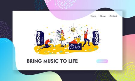 Young People Dancing and Singing in Karaoke Club Website Landing Page. Characters Sing with Microphones and Dynamics on Stage. Recreation Web Page Banner. Cartoon Flat Vector Illustration, Line Art