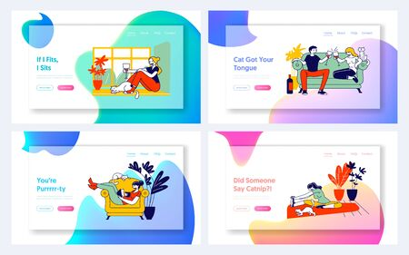Young Woman and her Cat Website Landing Page Set. Girl Spend Time at Home Alone and Dating with Boyfriend, Fitness Exercising, Reading Book Web Page Banner. Cartoon Flat Vector Illustration, Line Art