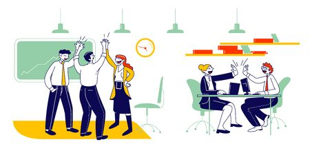 Joyful Business People Rejoice and Giving Highfive after Successful Deal or Contract Signing. Managers Team, Businessmen and Businesswomen Teamwork Group Cartoon Flat Vector Illustration, Line Art Çizim