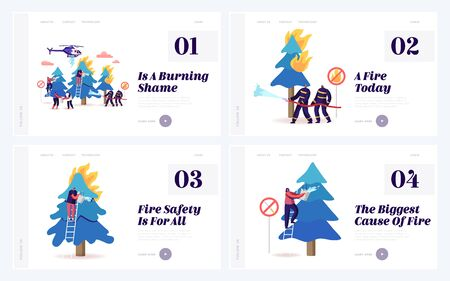 Firemen and Volunteers Fighting with Fire in Forest Website Landing Page Set. Men and Women Bringing Water Pouring Burning Trees , Nature Protection Web Page Banner. Cartoon Flat Vector Illustration