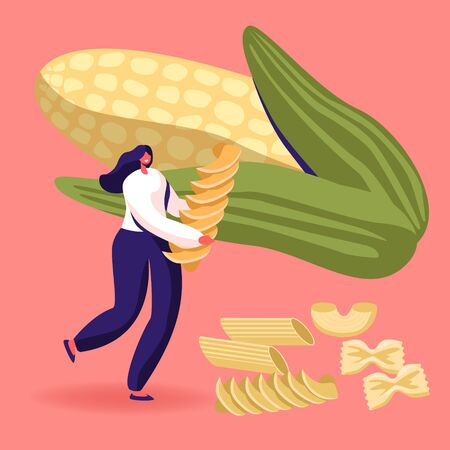 Carbohydrate Source Concept. Female Character Holding Pasta with Dry Macaroni of Various Kinds Scattered around and Huge Ears Corn. Italian Cuisine, Healthy Food Menu Cartoon Flat Vector Illustration