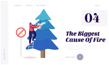 Environment Protection, Nature Ecology Saving Website Landing Page. Volunteer Woman Extinguish Big Fire Spraying Water from Bucket on Burning Fir-Tree Web Page Banner. Cartoon Flat Vector Illustration