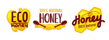 Eco Honey and Bee Farm Production Tags or Icons Set Isolated on White Background. Creative Design Elements with Brown Typography for Advertising or Package Decoration. Cartoon Vector Illustration Foto de archivo - 138137727