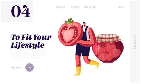 Ecological Natural Seasonal Farm Products Website Landing Page. Seller Offer Fresh Organic Local Fruit and Vegetable Production at Farmer Marketplace Web Page Banner. Cartoon Flat Vector Illustration Foto de archivo - 138137728