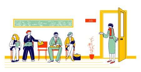 Leute, die auf ein Vorstellungsgespräch warten, sitzen in der Bürolobby auf Stühlen. Bewerber mit Lebenslauf-Dokumenten, die Arbeit einstellen. Weibliche Hr-Agentin laden besorgten Kandidaten zu Kabinett-Karikatur-flache Vektor-Illustration, Strichzeichnungen ein