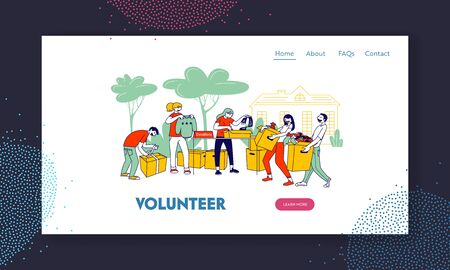 Donation and Charity Website Landing Page. Volunteers Characters Bringing Boxes for Poor Homeless People in Complicated Life Situation Web Page Banner. Cartoon Flat Vector Illustration, Line Art Stock Illustratie