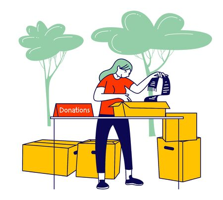 Volunteer Girl Filling Cardboard Donation Box with Products and Clothing to Help Poor People in Shelter, Support Social Care, Volunteering and Charity Concept Cartoon Flat Vector Illustration Line Art