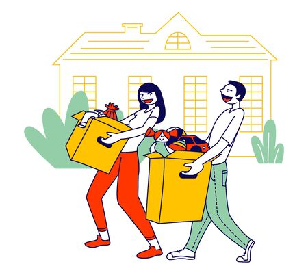 Young Man and Woman Caring Altruistic Volunteers Collecting Clothes to Cardboard Boxes for Donation to Poor Homeless People in Complicated Life Situation. Cartoon Flat Vector Illustration, Line Art