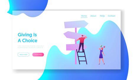 Business Challenge, Aufgabenlösung und Choice Way Website Landing Page. Geschäftsleute stehen auf Crossroad Fork Pointer Auswahl der richtigen Straßenrichtung Web-Seitenbanner. Flache Vektorillustration der Karikatur