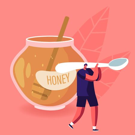 Natural Healthy Sweeteners Concept. Tiny Male Character Carry Huge Spoon near Glass Jar Full of Honey Ilustração