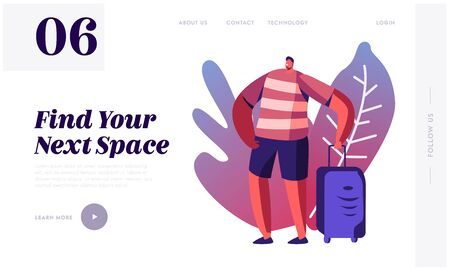 Travel Agency Service Website Landing Page. Tourist Man with Suit Case Traveling Abroad on Vacation. Exotic Country Trip Иллюстрация