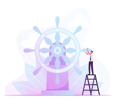 Businessman Stand on Ladder Moving Huge Steering Wheel. Business Man Control Ship Helm and Bring Company to Success Çizim